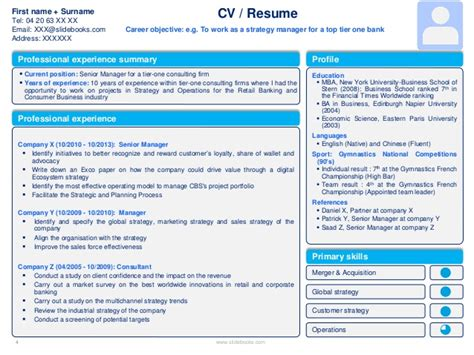 Powerpoint Resume Template by Resume Cv Templates In Editable Powerpoint