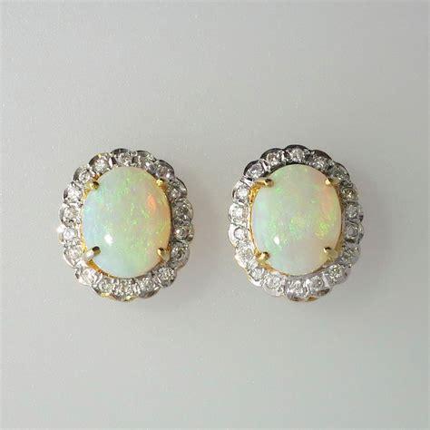 stunning vintage opal halo earrings 18k