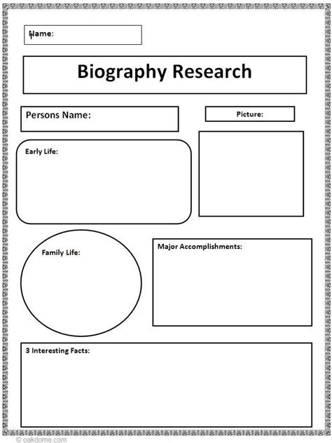 Student Biography Card Template by Biography Research Graphic Organizer Ela Graphic