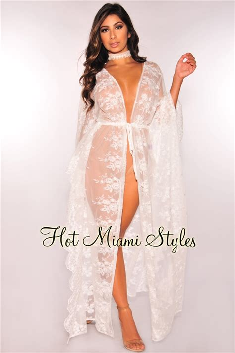 Set Floral Cover Up Dress white sheer floral embroidered lace kimono cover up kaftan