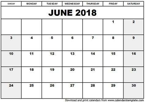 Calendar Of June June 2018 Calendar Template