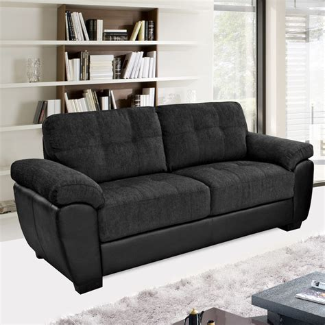 newport black fabric leather match sofa collection