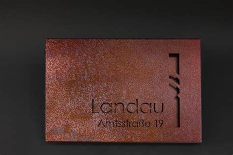 Rostige Stahlplatte Lackieren by Namensschild Mit Strassennamen Und Hausnummer Aus 2 Mm