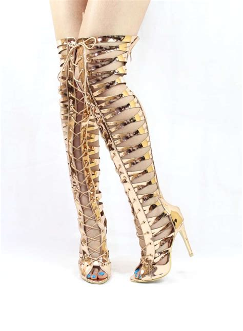 Gladiator Gold Wowtrendz Thigh High Lace Up