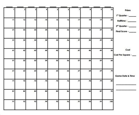 super bowl squares template excel infinite photoshots 24