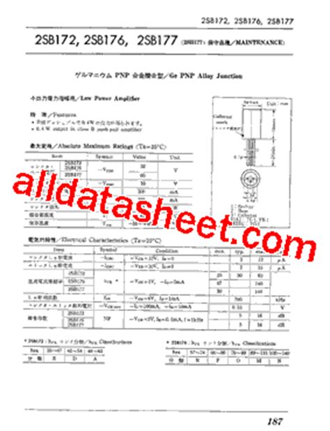 transistor equivalent list free 2sb176 datasheet pdf list of unclassifed manufacturers