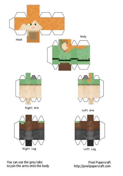 How To Make Paper Minecraft Stuff - papercraft alex minecraft 1 8 print me