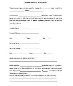 Formal Contract Template by Formal Subcontractor Agreement Template Free Formal Word Templates