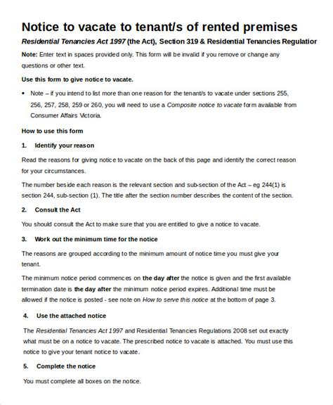 notice to vacate template notice to vacate form 9 free word pdf documents