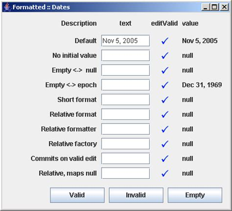 format date using java different configurations of jformattedtextfield data