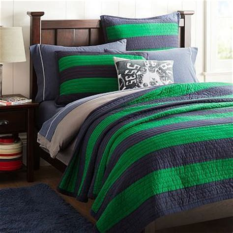 navy and green bedding rugby stripe quilt sham navy bright green