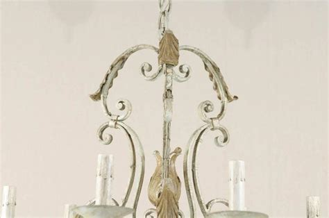French Vintage S Scroll Iron Six Light Chandelier With Acanthus Leaf Chandelier