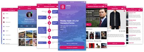 Grial Ui Kit Beautiful Xaml Templates For Your Xamarin Forms Apps Xamarin Forms Xaml Templates