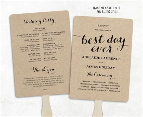 printable wedding program template fan wedding program