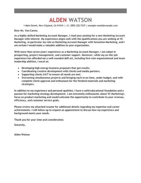 account manager cover letter exles marketing cover