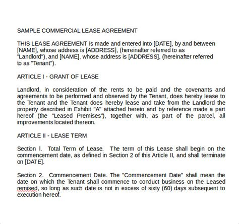 land lease agreements samples examples format