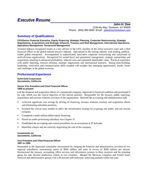 executive vp director of finance resume template