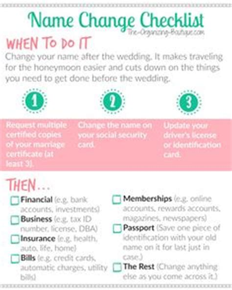 Getting Married Changing Your Last Name by 1000 Ideas About Name Change Checklist On