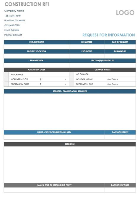 Free Request For Information Templates Smartsheet Rfi Excel Template