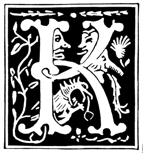 Decorative Alphabets And Initials by Decorative Initial Letter K From 16th Century Image