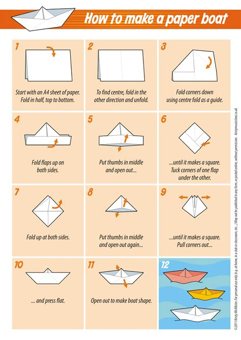 Paper Boat Steps - great tips and tricks for folding all kinds of things just