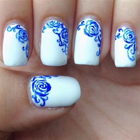 easy nail art blue and white awesome blue and white nail designs design trends