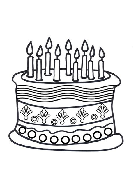 Cake To Color Coloring Part 6 Birthday Cake Colouring Pages
