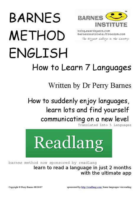 8 Methods To Help You Learn A Language by How To Learn 7 Languages Barnes Method By Luis