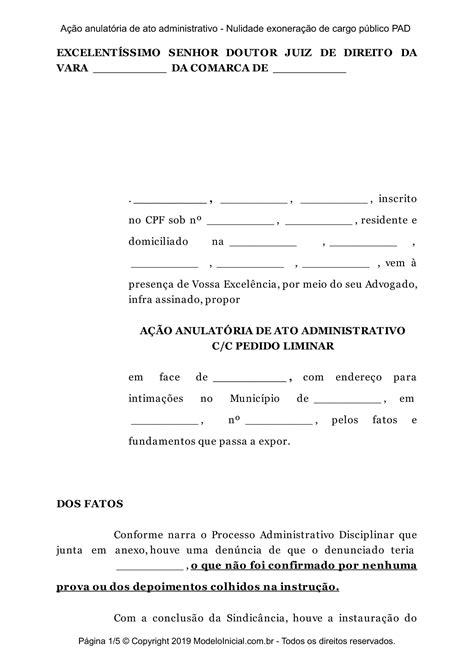 Modelo Ação anulatória de ato administrativo - Nulidade