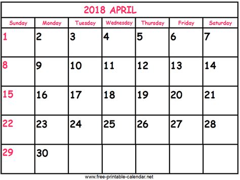 printable calendar 2018 april print calendar 2018 april