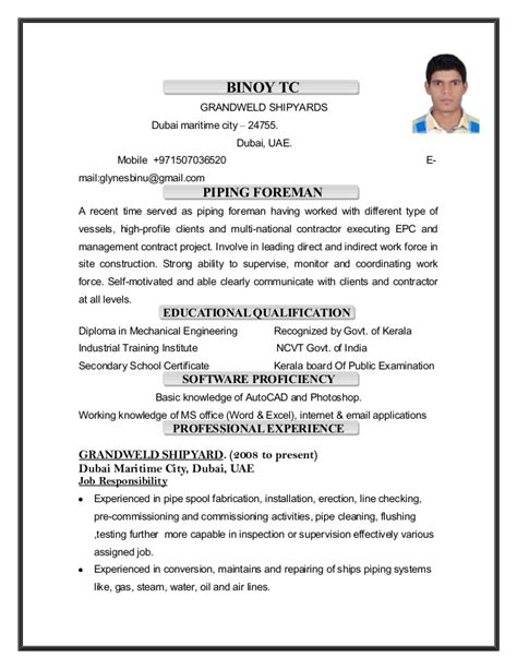 piping foreman resume binoy tc