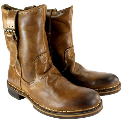 womens fly nota leather pull on mid calf boots
