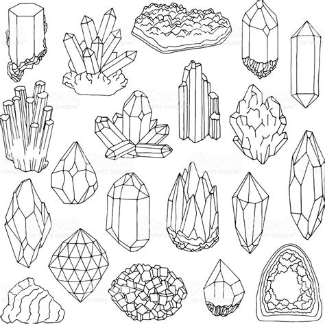printable coloring pages gemstones set of blue crystals gem and minerals stock vector art