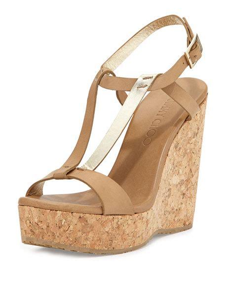 neutral wedge sandals jimmy choo leather wedge sandal neutral