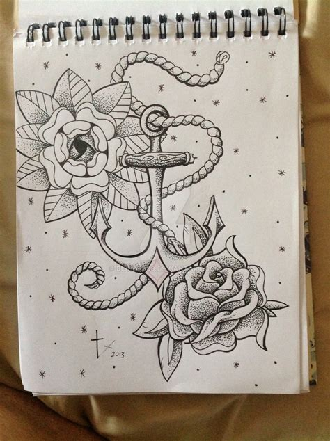 L Cm0023 Anchor And Flowers anchor and flowers by bishop808 on deviantart