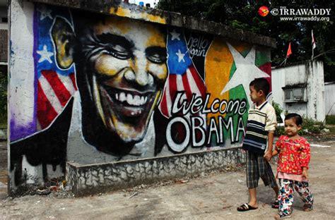 burma welcomes obama  graffiti