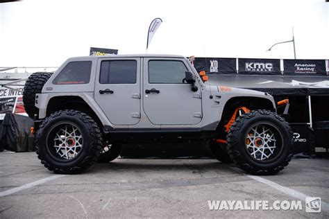 starwood motors jeep white 2014 sema gray starwood motors kmc jeep jk wrangler unlimited