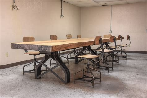 live edge conference table rouille live edge conference table vintage industrial