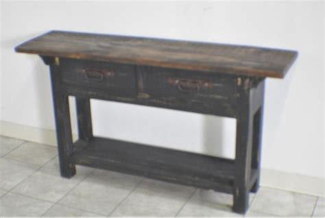 Distressed Console Table With Drawers by Rustic Pine Black Distressed 2 Drawer Console Table Ebay