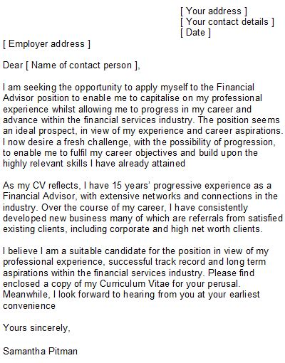 financial advisor cover letter sle