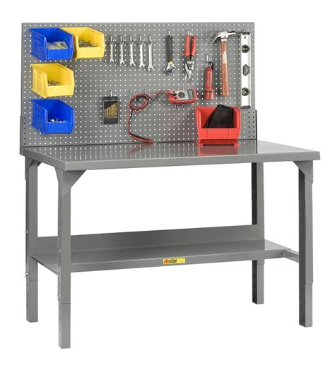 machine shop work bench adjustable height welded workbench with pegboard wa 2848