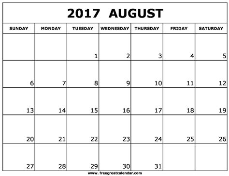 Blank August 2017 Calendar Printable
