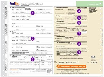 3 blank fedex airbill letter bills