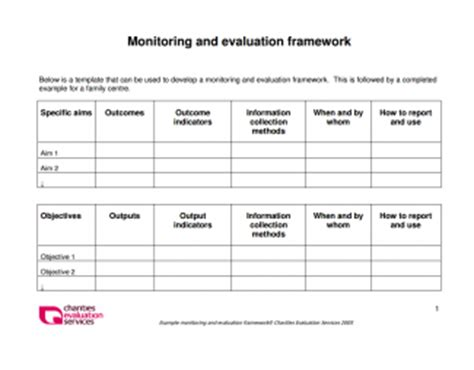 monitoring and evaluation work plan template monitoring and evaluation framework gallery