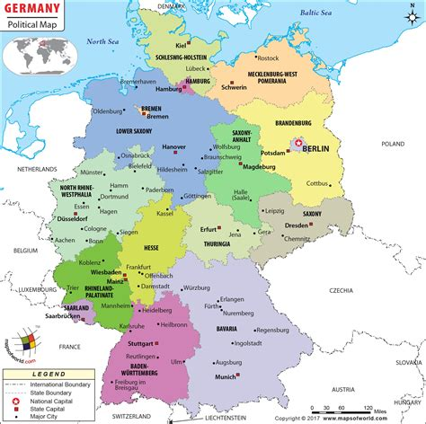 map of german states and cities political map of germany germany states map