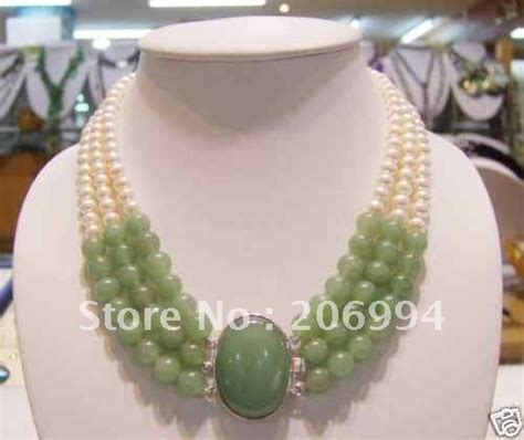 Handmade Jewelry Design - wholesales design charming 3 rows green jade freshwater