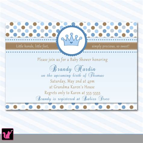Baby Welcome Invitation Cards Templates by 30 Personalized Prince Crown Baby Boy Shower Invitations