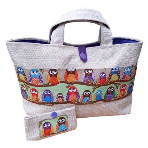 Handmade Bags Uk - large cotton designer bag with owls handmade bag silly owl