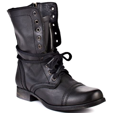 steve madden troopa mid leather lace up black boots combat boot bootie ebay
