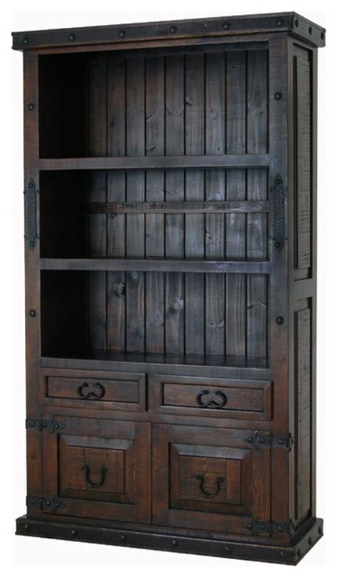 Rustic Bookcase With Doors Qc Furniture Hacienda Bookcase With Doors Darkwood View In Your Room Houzz